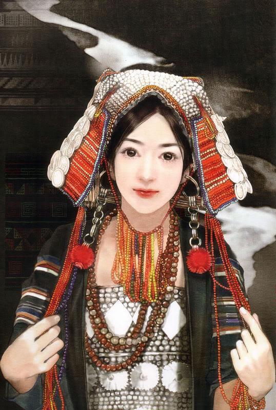 55少数民族美女图之独龙族、俄罗斯族、哈尼族、哈萨克族