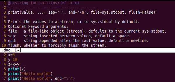 How to view python help when using vim
