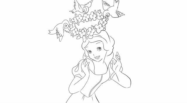 [小林简笔画]绘画迪斯尼动画中的白雪公主卡通动漫简