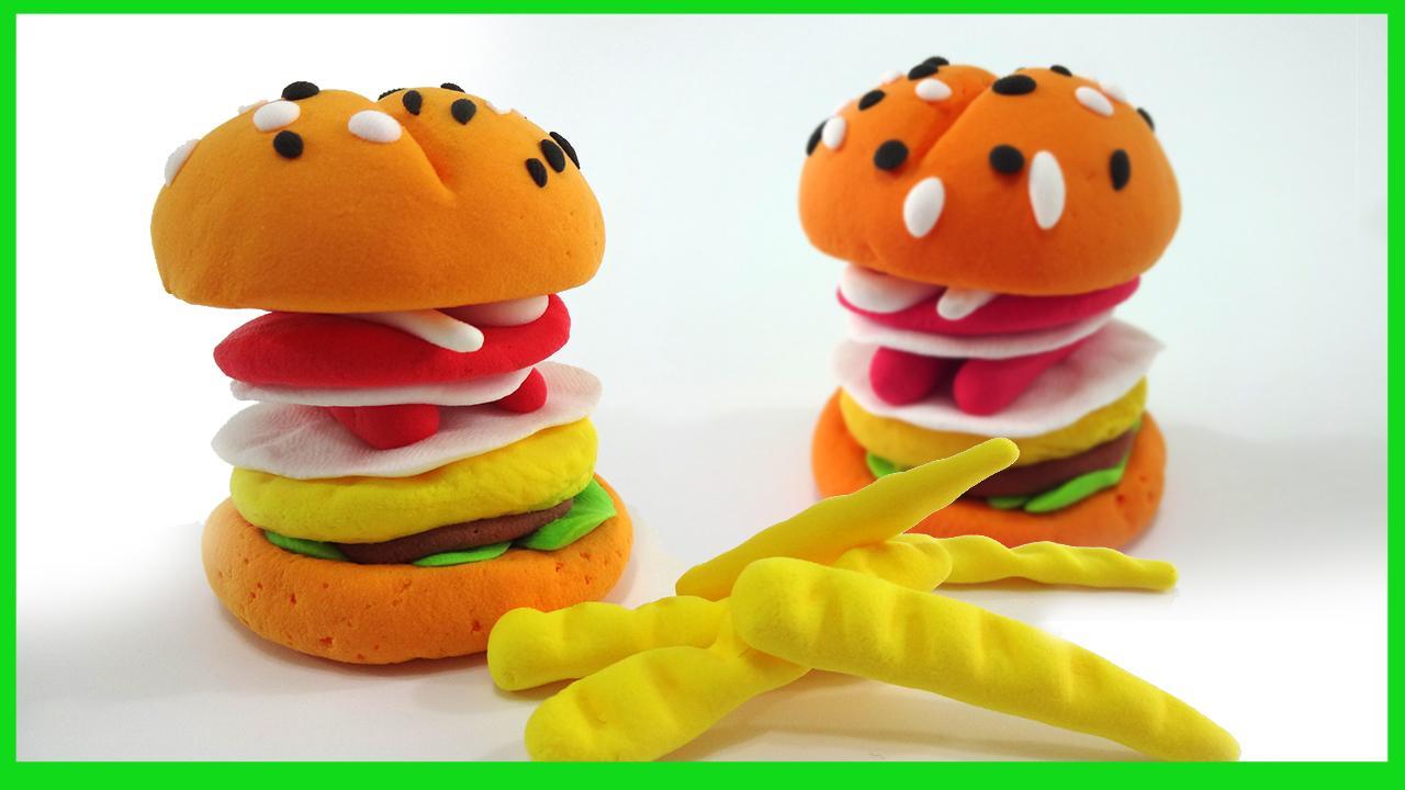 美味的汉堡彩泥手工制作 儿童玩具创意橡皮泥diy