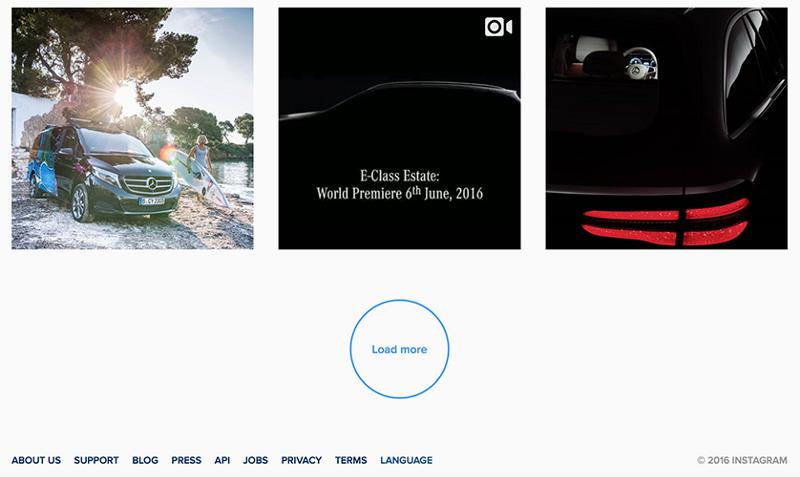 Instagram 使用的一个加载更多结果按钮, 保证页脚可及的同时提供无限滚动的许多好处