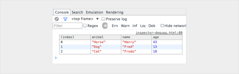Screenshot showing the resulting table for JavaScript debugging tip 2