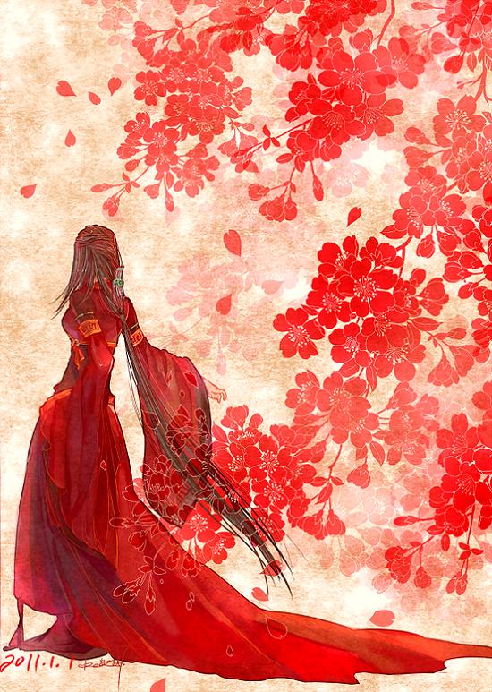 动漫妹子穿古代嫁衣的图片