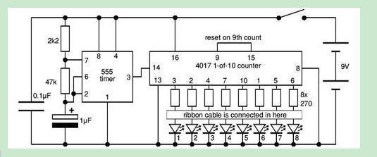 """为了解决用户可能碰到关于""""求流水彩灯的原理及电路图""""相关的问题,突袭网经过收集整理为用户提供相关的解决办法,请注意,解决办法仅供参考,不代表本网同意其意见,如有任何问题请与本网联系。""""求流水彩灯的原理及电路图""""相关的详细问题如下:要求 周期可调 有相关的元件参数 ===========突袭网收集的解决方案如下=========== 解决方案1: 流水彩灯的原理及电路图如下:  原理:该流水灯电路由时钟发生电路和功能显示电路两部分组成。以集成电路NE555为核心器件构成自激多谐振荡器。 当电源开关S"""