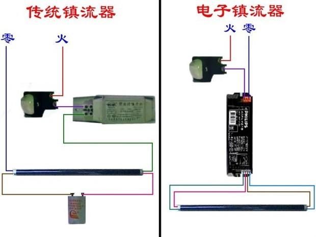 日光灯台灯电子镇流器的接线怎样接