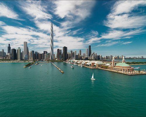 芝加哥螺旋塔大厦的效果图