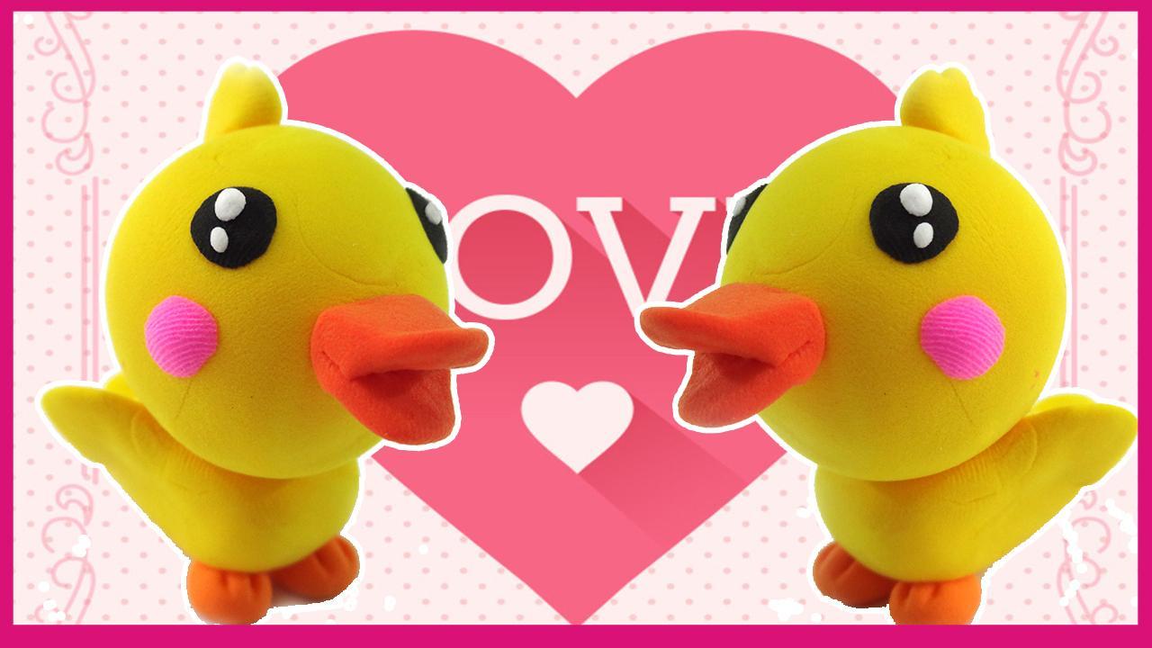 彩泥手工制作可爱的小鸭子 儿童创意玩具橡皮泥diy
