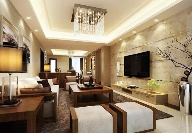 用仿石材的瓷砖做电视背景墙能提升整个装修的档次