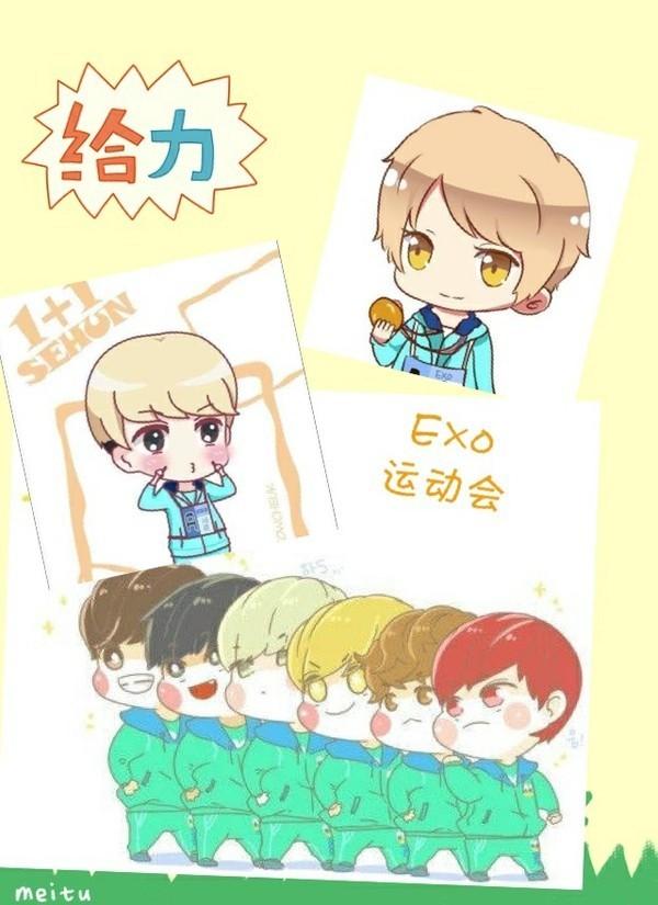 求exo十二个人的卡通照片!像这样的