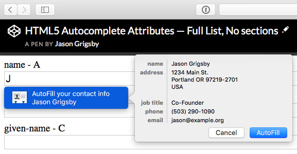 Safari offering to autofill my contact information on a form that only uses autocomplete attributes.