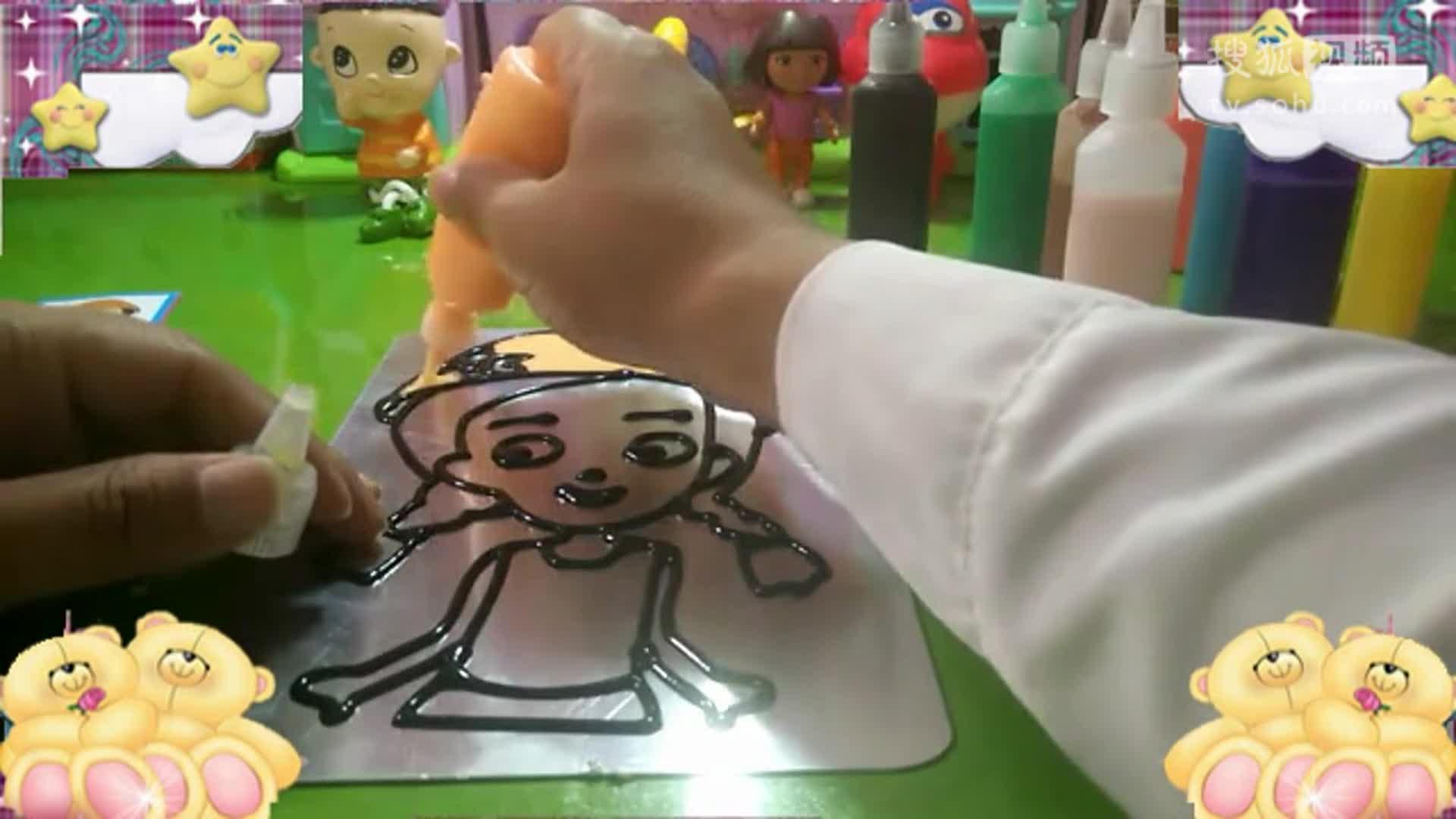 粉红小猪佩奇乐迪 做烤画胶画可爱的小美女萌萌哒!