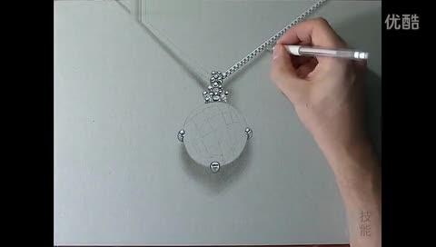 蓝色钻石项链马克笔手绘视频教程 珠宝首饰在线播放网,视频高清.