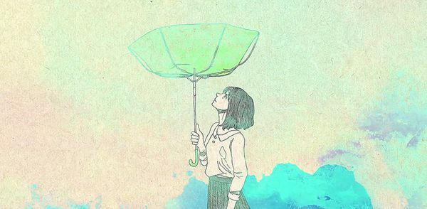 卡通情侣头像,打伞,另一张