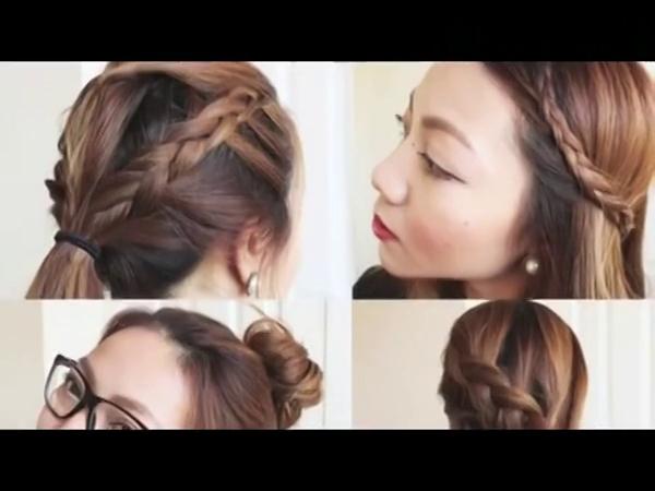 夏季发型中长发扎法 出游发型简单韩式丸子头