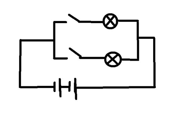 电池两节串联,小灯泡2个,电线若干,开关两个.怎么才能