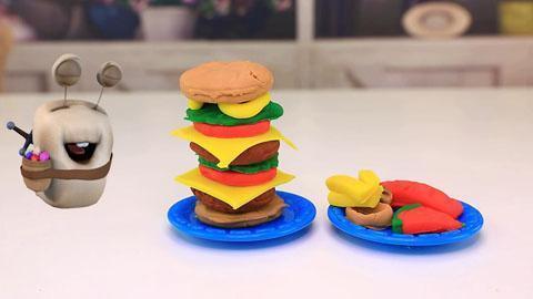 白白侠玩具秀:橡皮泥手工制作巨无霸汉堡包