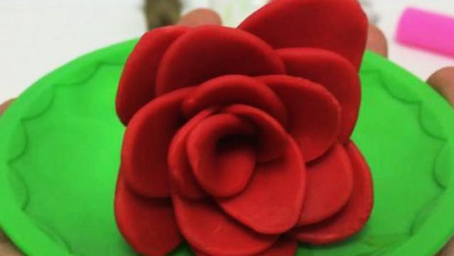玩具视频 橡皮泥手工制作玫瑰花 亲子游戏