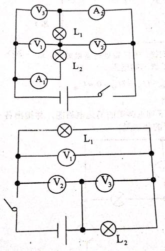 初中物理题,画出下列电路图的简化电路图并写出各电表所测物理量.