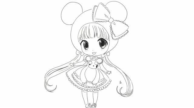 [小林简笔画]如何绘画可爱的二次元q版卡通女生卖萌