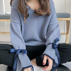 宽松套头韩版慵懒风毛衣,v领喇叭袖设计