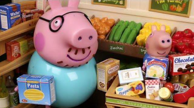 小猪佩奇逛超市 粉红猪小妹吃水果蛋糕 玩具视频亲子游戏图片