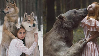 用生命在拍照!真人版美女与野兽