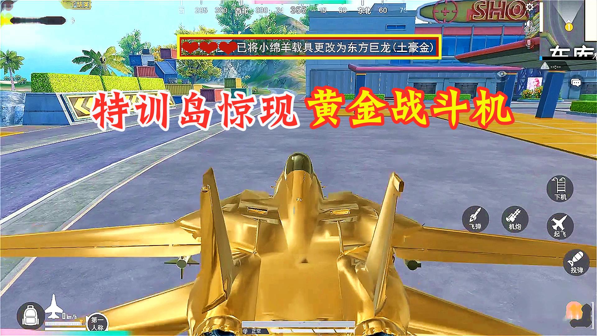 """和平精英:特训岛惊现""""黄金战斗机"""",竟是小绵羊的载具皮肤"""
