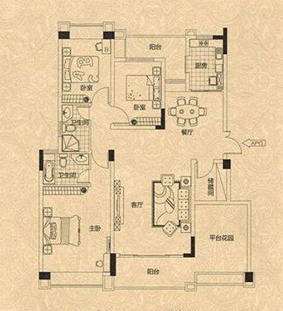 求一份房屋装修设计图 房子建筑134面积平米左右,三室两厅的房子,