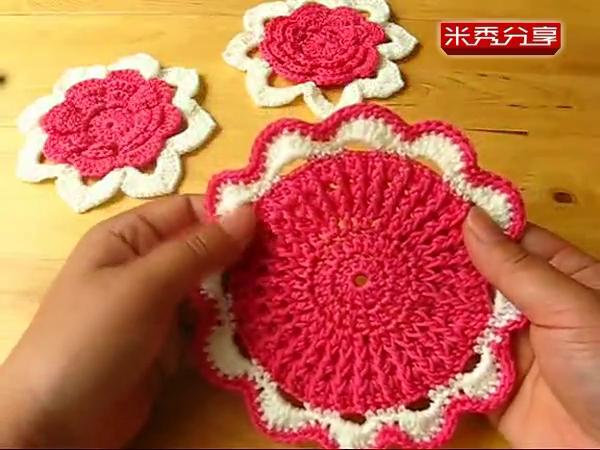 手工编织钩针隔热垫 手工编织杯垫织围巾帽子视频教程