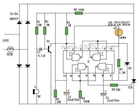 电路图声控光控