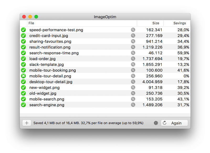 Results after compressing high-resolution images in this article through ImageOptim