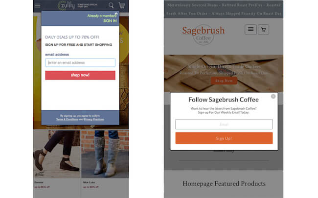 Interstitial examples on mobile landing pages