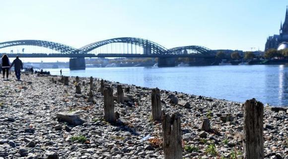 德国莱茵河因高温干旱水量达历史最低