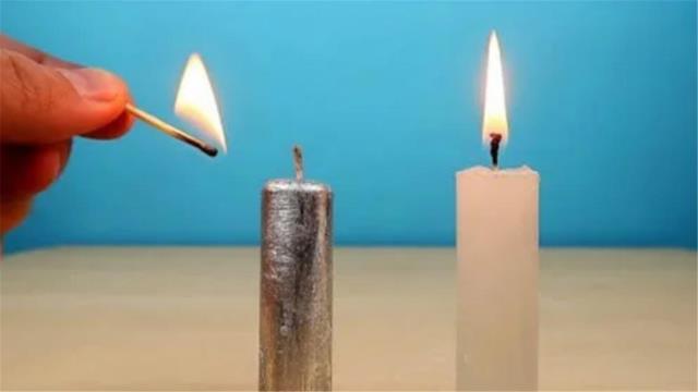 不可思议的科学现象,用金属镓制作一根蜡烛,点燃后会如何?