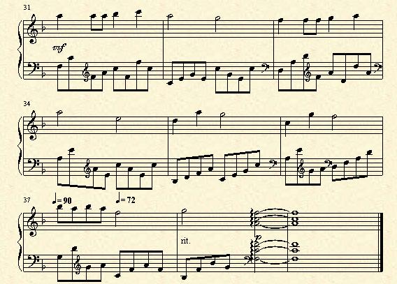有没有完整版的虫儿飞的钢琴双手简谱
