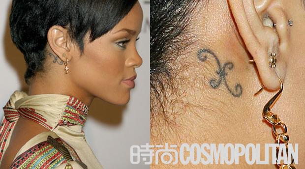 明星的耳后纹身图案,大多都选择姓名缩写和迷你图腾