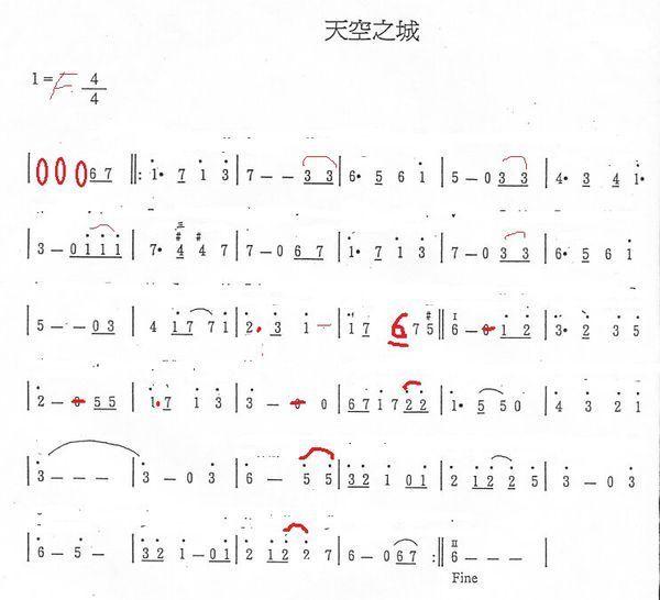 高分求 《天空之城》 f 调 笛子谱(简谱) 最好以炎亚纶的长笛独奏为蓝