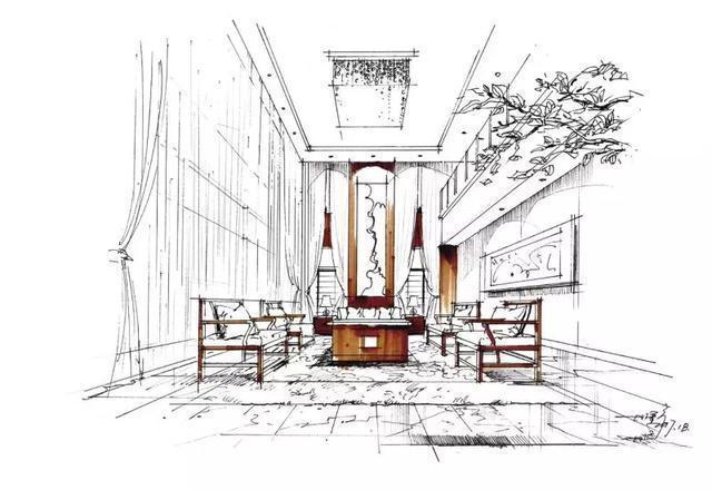 2 步骤一:根据一点透视原理,完成空间线稿,可加入适当的投影增强空间
