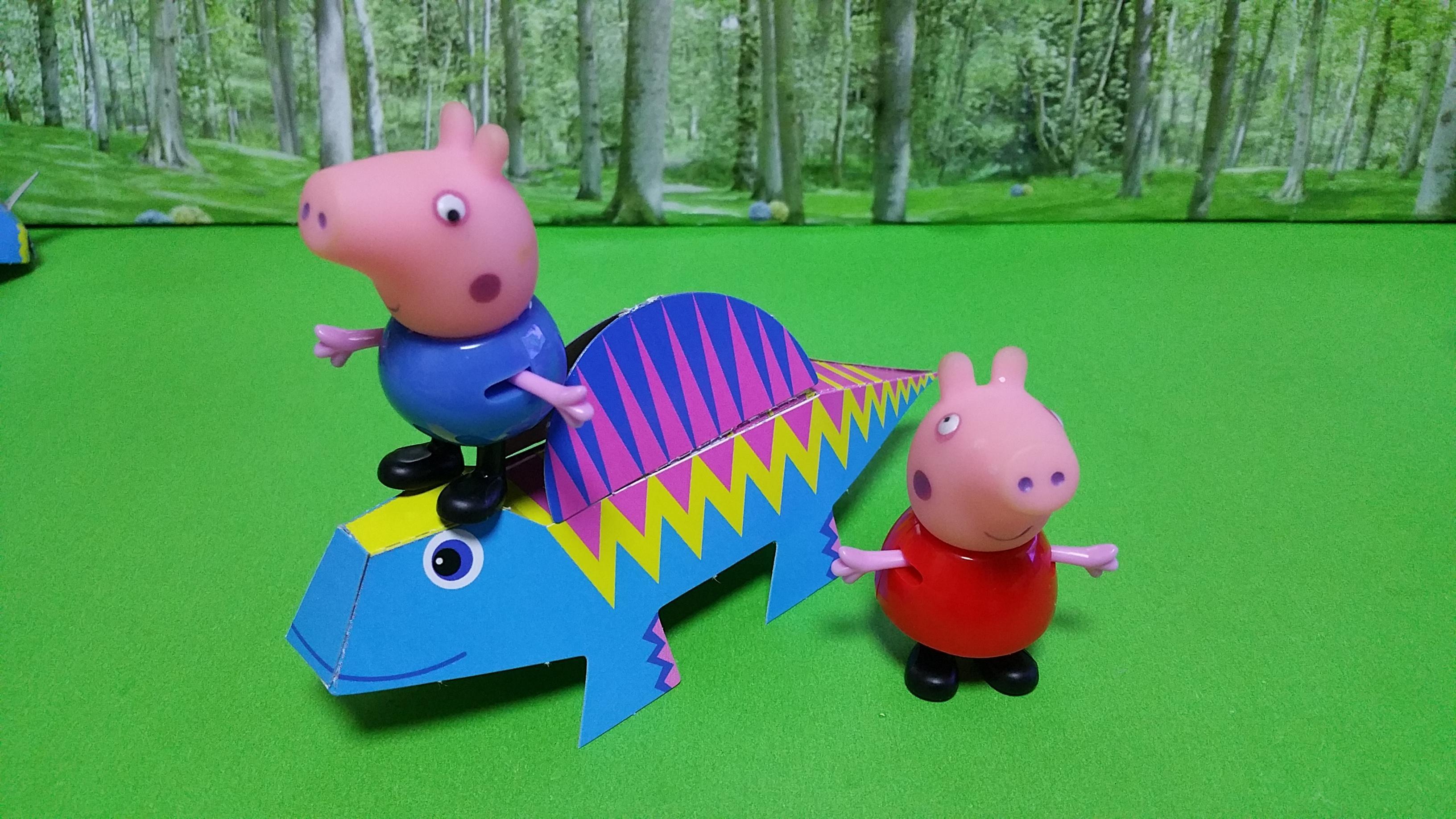 粉红猪小妹小猪佩奇手工制作恐龙世界棘背龙