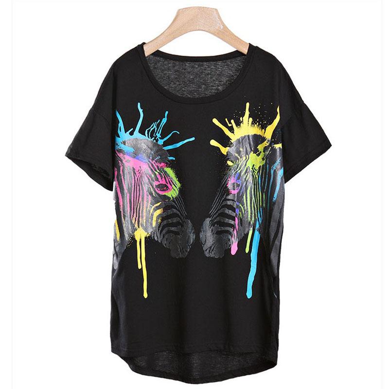 2013新款卡通 泼墨 斑马 动物 图案t恤 女装圆领