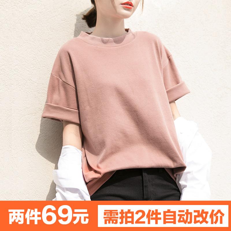【纯色加厚短袖T恤】夏季新款简约时尚圆领上衣