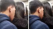 变态男出向女子后颈吹气舔头发
