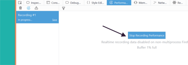 Stop recording browser activity in the Performance panel.
