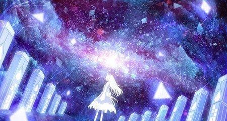 求星空背景的二次元图片