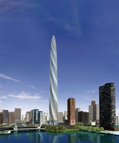 螺旋塔大厦位于芝加哥城市中心