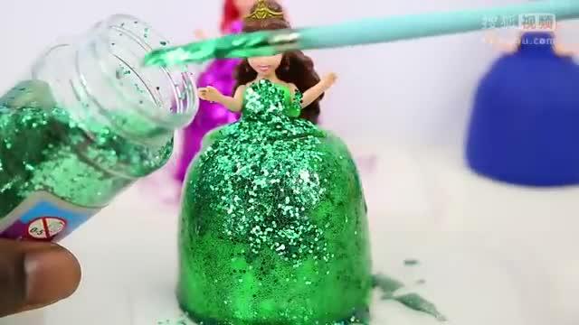 彩泥粘土橡皮泥手工制作艾莎公主小美人鱼长发公主裙子图片