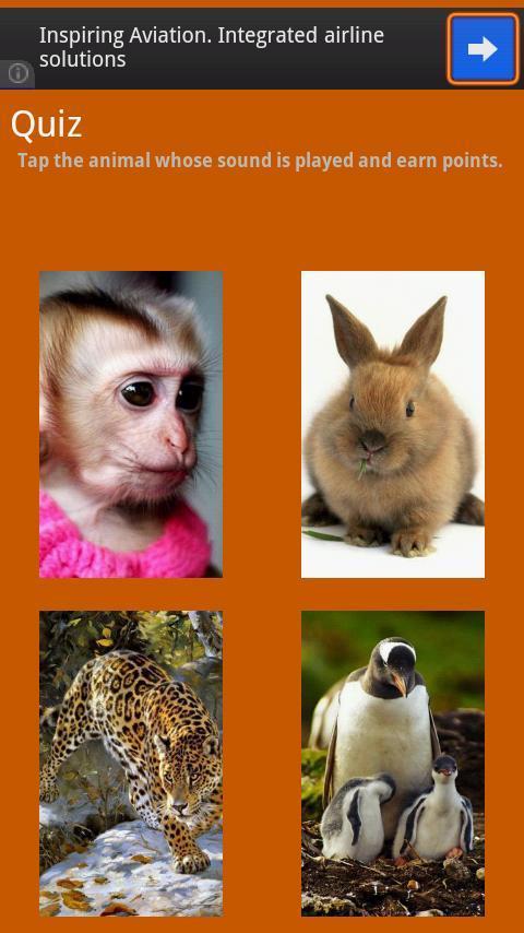 动物的叫声动物园是一个很好的和令人兴奋的应用程序的孩子,学前儿童及幼儿学习动物。你是否想让你的小孩和儿童知道动物在视觉上或让他们认识到丛林中的野兽或宠物噪声,它是一个完美的应用程序有它自己的移动设备上。此外,动物名称,图片和音排列的方式,你也可以教你学前儿童与英文字母的基本。乐趣与学习使用应用程序的竞猜选项就不言而喻了。动物发出声音,而四( 04 )选项会显示在屏幕上。用户可以选择其中之一,得分也相应递增。这是一个美好的和非常不错的功能是让孩子们学习并测试其基本学力对识记。特点: - 下一个和上导航- 动