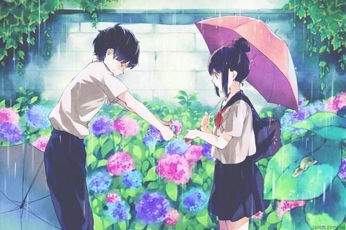情侣头像动漫男生摘花女生打伞那一组