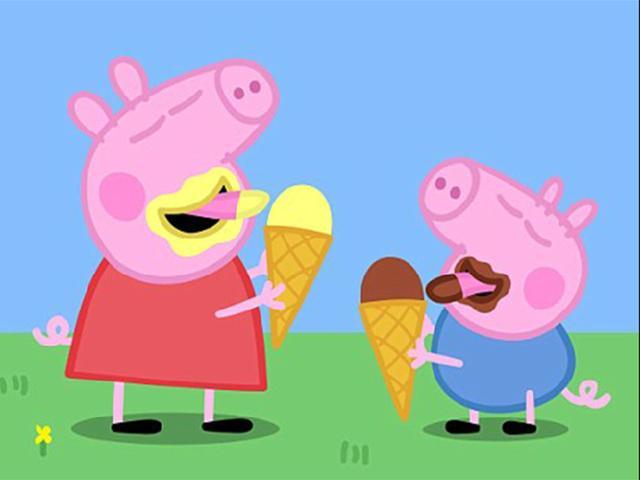 粉红猪小妹 小猪佩琪和乔治弟弟吃冰淇淋