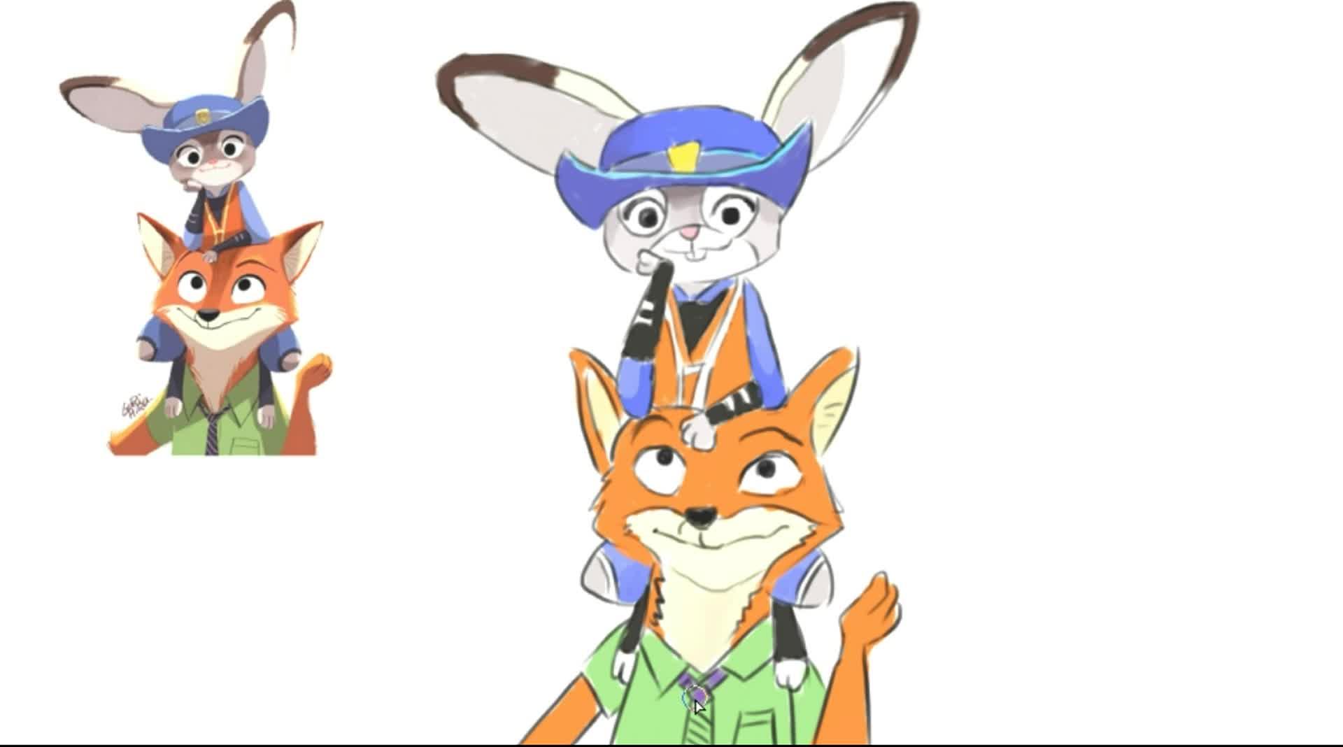 儿童绘画电影动画片疯狂动物城中的兔子和狐狸朱迪和尼克卡通形象